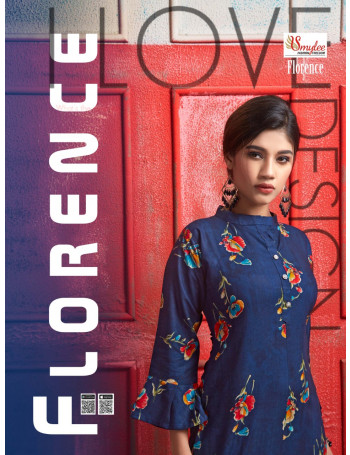 RUNG(SMYLEE) FLORENCE 1001 TO 1008 Heavy FOIL PRINT RIYON KURTI SET TO SET   WHOLESALE CATALOG
