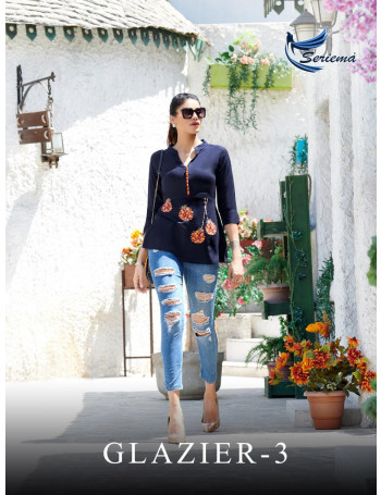 SERIEMA GLAZIER VOL-3 1028 TO 1035 HEAVY RAYON 14KG  WITH STYLISH EMBROIDERY FULLY STYLISH SELVESS WITH CLASSY LOOK TOP SET TO SET WHOLESALE CATALOG