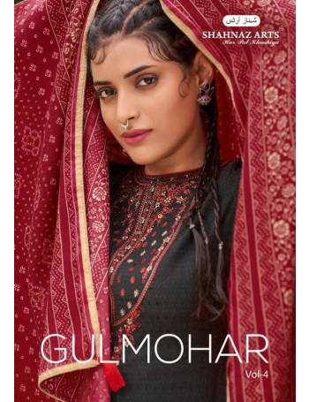 SHAHNAZ ARTS GULMOHAR VOL-4 5001 TO 5008 Heavy pasmina print with exclusive embroidery SALWAR SUIT  SET TO SET  WHOLESALE CATALOG
