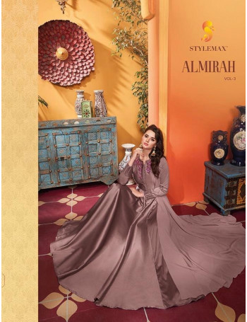 STYLEMAX ALMIRAH VOL-3 1001 TO 1006   HEAVY SOFT SILK  WITH HEAVY EMBERODERY GOWN  SET AND LOOSE  WHOLESALE  CATALOG