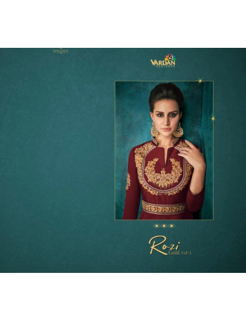 VARDAN ROZI GOLD VOL-1 51012B TO 51012E  TIRWA SILK WITH HEAVY EMBERODERY GOWN  SET AND LOOSE  WHOLESALE  CATALOG